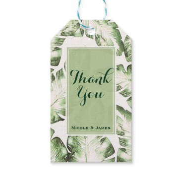 Beach Themed Elegant White Green Tropical Beach Leaves Wedding Gift Tags