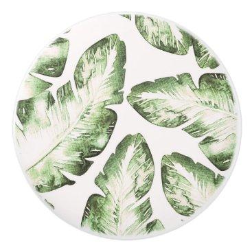 Beach Themed Elegant White Green Tropical Beach Palm Leaves Ceramic Knob