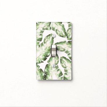 Beach Themed Elegant White Green Tropical Beach Palm Leaves Light Switch Cover
