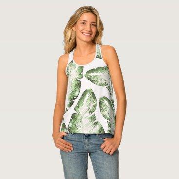 Beach Themed Elegant White Green Tropical Leaves Pattern Print Tank Top