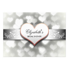 elegant white hearts bridal shower invitation