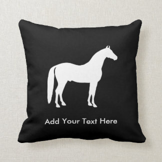 Elegant White Horse Customizable Text Throw Pillow