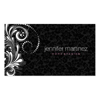 Elegant White Lace And Black Damask Double-Sided Standard Business Cards (Pack Of 100)