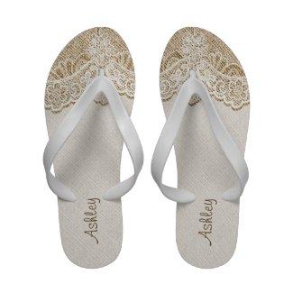 Elegant white lace and linen natural burlap bridal