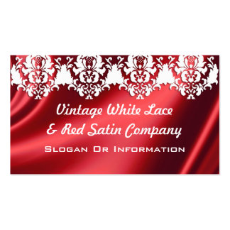 Elegant White Lace And Red Satin Business Cards