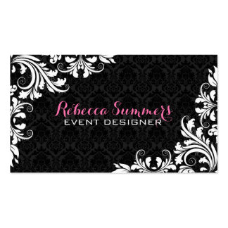 Elegant White Lace Black Damasks Double-Sided Standard Business Cards (Pack Of 100)