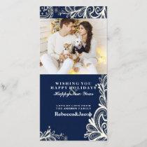 elegant white lace navy blue holiday photo