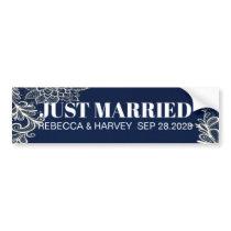 elegant white lace navy blue wedding just married bumper sticker
