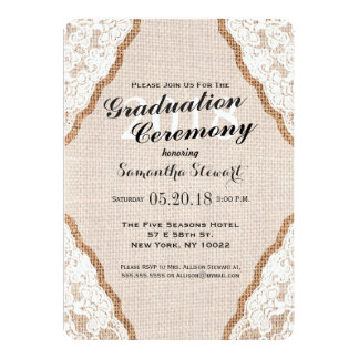 Elegant White Lace on Burlap Jute Card