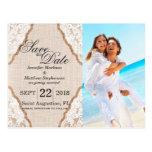 Elegant White Lace on Burlap Jute Postcard