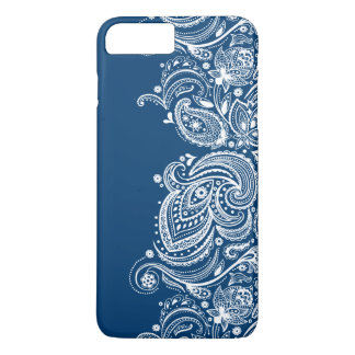 Elegant White Lace On Changeable Blue Background iPhone 7 Plus Case