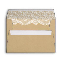 Elegant White Lace Pattern Kraft Wedding 5x7 Envelope