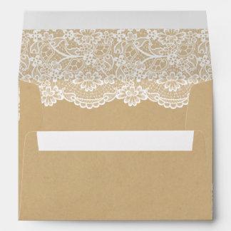 Elegant White Lace Pattern Kraft Wedding 5x7 Envelope