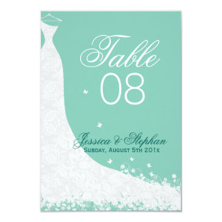 Elegant White Lace Wedding Dress Table Number