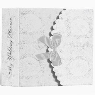 Elegant white lace Wedding Planner Vinyl Binders