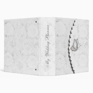 Elegant white lace Wedding Planner 3 Ring Binders