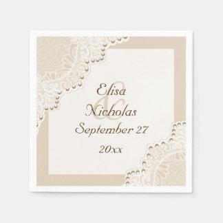 Elegant white lace with pearls beige wedding napkin