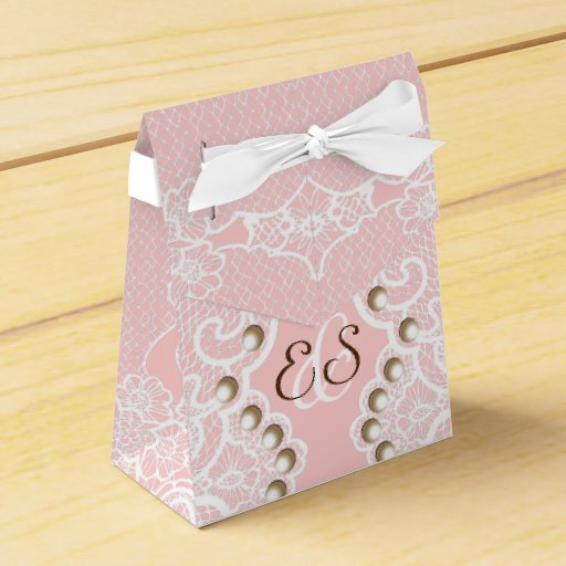 Wedding Favor Boxes White : Elegant white lace with pearls pink wedding favor