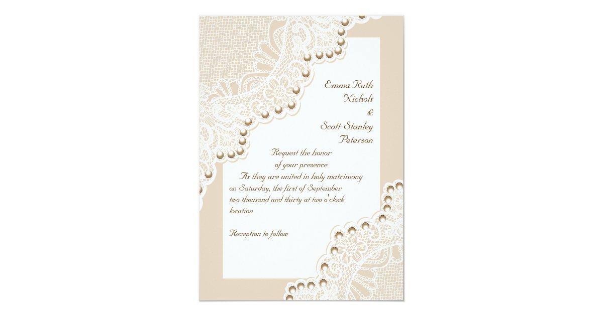 Wedding Invitations Lace And Pearl: Elegant White Lace With Pearls Wedding Invitation