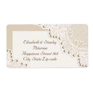 Elegant white lace with pearls wedding label shipping label