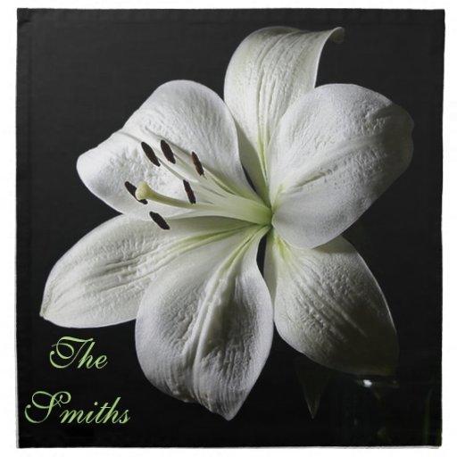 Elegant White Lily Napkins *Personalize*