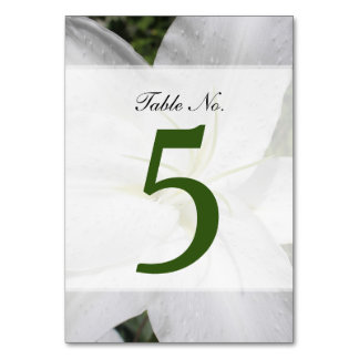 Elegant White Lily Photo Table Number