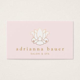 Elegant White Lotus Flower Pink Salon and Spa Business Card