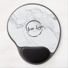 Elegant White Marble Custom Logo Gel Mouse Pad at Zazzle
