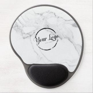 Elegant white marble custom logo gel mouse pad