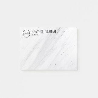 Elegant white marble custom logo post-it notes