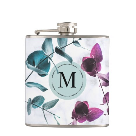 Elegant white marble eucalyptus foliage monogram flask