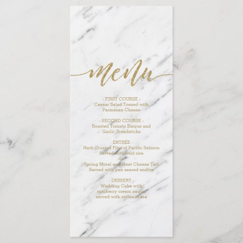 Elegant White Marble  Gold Foil Wedding Menu