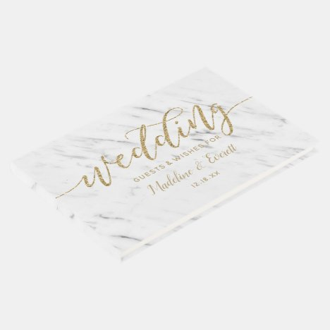Elegant White Marble & Gold Foil Wedding Monogram Guest Book