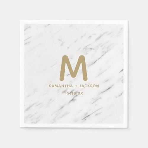 Elegant White Marble  Gold Foil Wedding Monogram Napkins