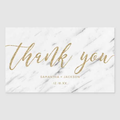 Elegant White Marble  Gold Foil Wedding Thank You Rectangular Sticker