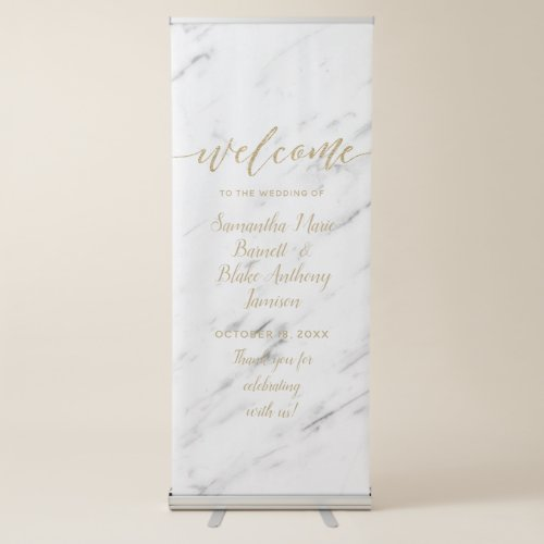 Elegant White Marble  Gold Foil Wedding Welcome Retractable Banner
