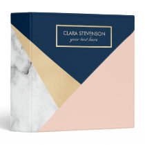 elegant white marble gold peach blue color block 3 ring binder
