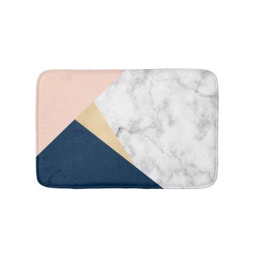 elipsa elegant white marble gold peach blue color block bath mat