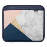 elegant white marble gold peach blue color block iPad sleeve