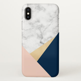 elegant white marble gold peach blue color block iPhone x case