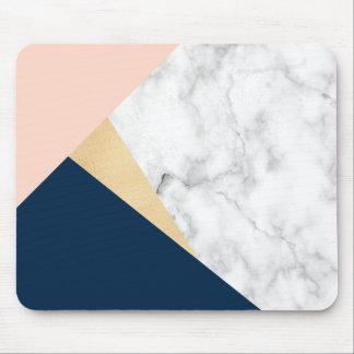 elegant white marble gold peach blue color block mouse pad