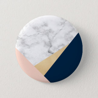 elegant white marble gold peach blue color block pinback button