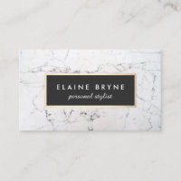 Elegant White Marble Makeup Artist Beauty Business Card