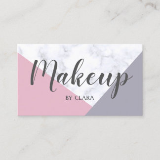 elegant white marble pastel pink purple geometric business card