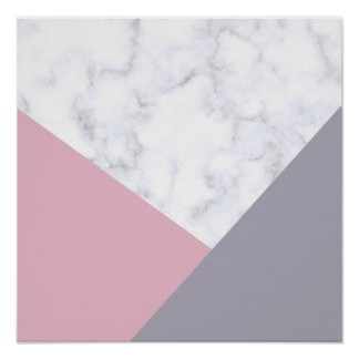 elegant white marble pastel pink purple geometric poster