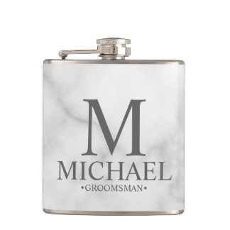 Elegant White Marble Personalized Groomsmen Hip Flask