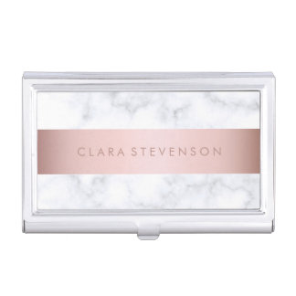 elegant white marble rose gold faux strip business card case