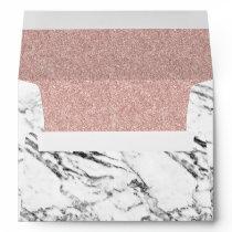 Elegant White Marble Rose Gold Glitter Wedding Envelope