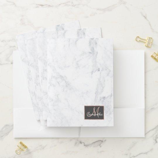 Elegant White Marble Rose Gold Monogram Pocket Folder