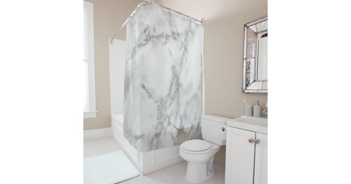 Elegant White Marble Shower Curtain Gold Veining